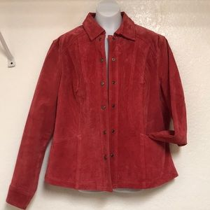 Coldwater creek red leather suede jacket large